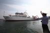 Изследователски кораб на експедиция в Тихия Океан